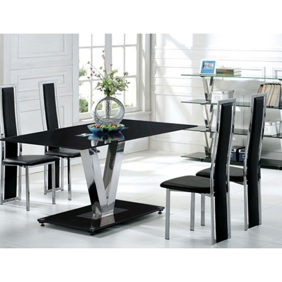 V Range Black Glass Dining Table In 160Cm Only 21282 For Current Dining Tables Black Glass (View 19 of 20)