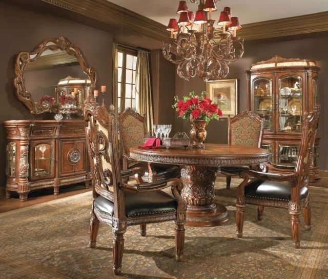 Valencia 3 Piece Counter Sets With Bench Throughout Most Recently Released Michael Amini Villa Valencia Traditional Round Oval Table Chairs (Gallery 10 of 20)