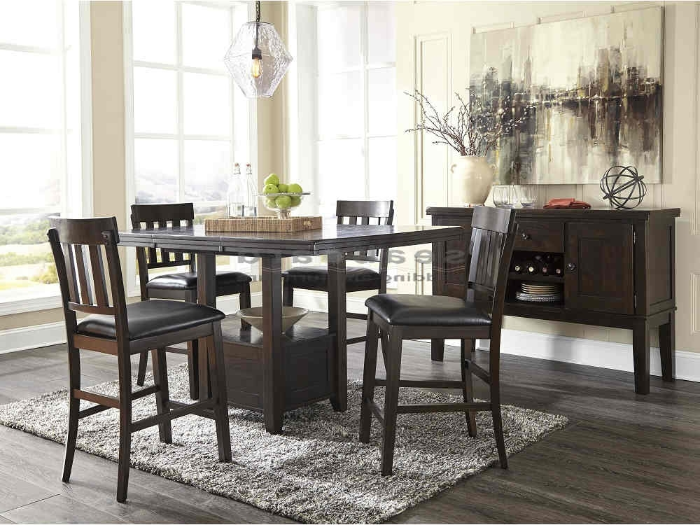 Valencia 5 Piece Counter Sets With Counterstool In Well Known Ashley D596 Haddigan Dark Brown Pub Table Set – Seaboard Bedding (Gallery 15 of 20)