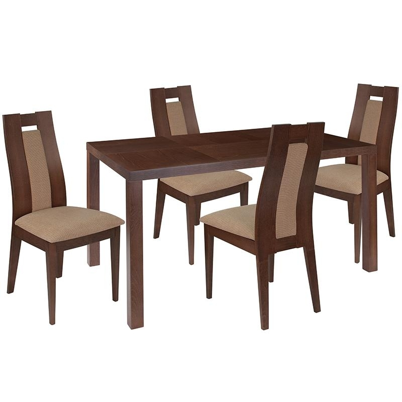 Valencia 5 Piece Round Dining Sets With Uph Seat Side Chairs Within Most Popular Bisonoffice: Beckham 5 Piece Walnut Wood Dining Table Set With (View 18 of 20)