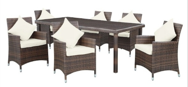 Valencia 72 Inch 7 Piece Dining Sets Regarding Well Liked Outdoor Patio Dining Tables, Chairs And Sets (View 16 of 20)