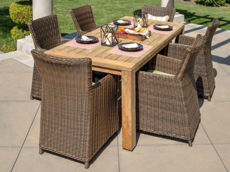 Valencia 72 Inch 7 Piece Dining Sets With Regard To Most Current Teak Outdoor Dining Set (View 18 of 20)