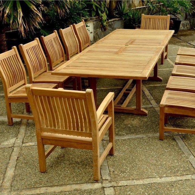 Valencia Sahara 13 Piece Teak Patio Dining Set W/ 79 X 43 Inch Regarding Preferred Valencia 72 Inch 6 Piece Dining Sets (View 15 of 20)