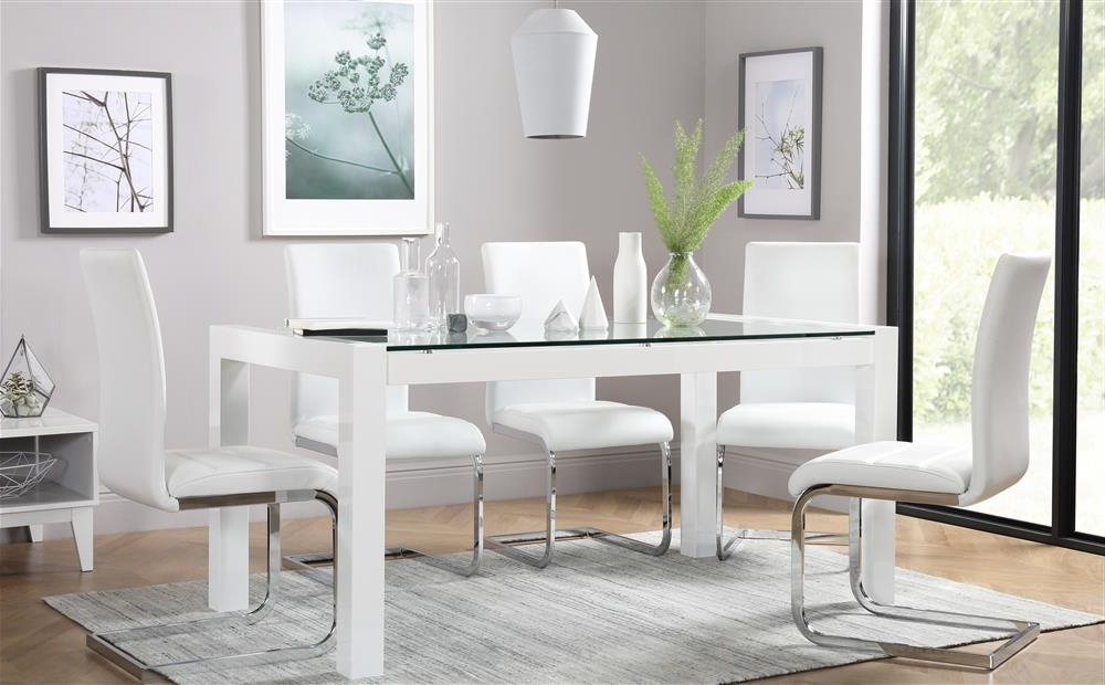 Venice White High Gloss And Glass Dining Table And 4 Chairs Set With Favorite Perth White Dining Chairs (View 19 of 20)