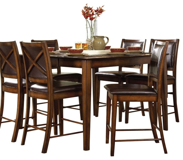 Verona Dining Tables With Most Recent Homelegance Verona Counter Height Table In Dark Oak – Transitional (View 15 of 20)