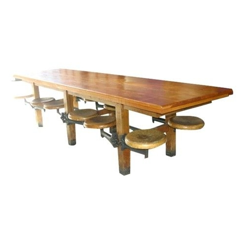 Very Cool Vintage Twelve Seat Cafeteria Table With Attached Stools Pertaining To Latest Dining Tables With Attached Stools (Gallery 8 of 20)