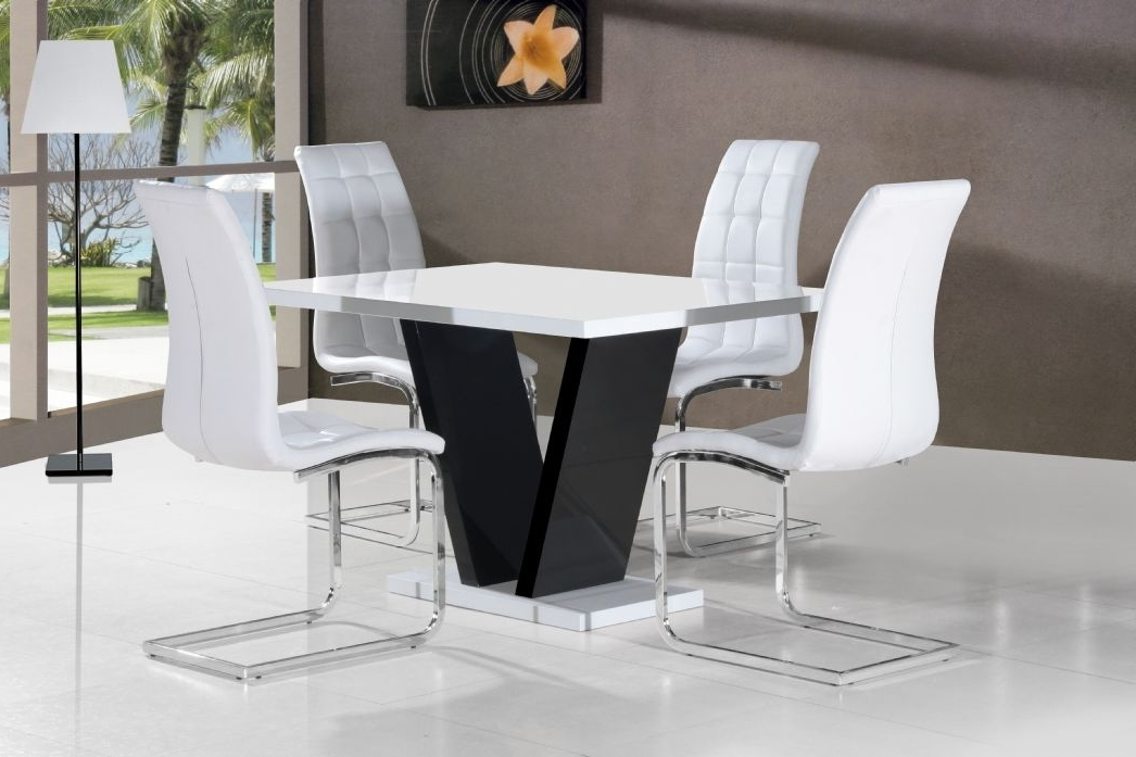 Vico White Black Gloss Contemporary Designer 120Cm Dining Table Only With Newest White Gloss Dining Tables 120Cm (Gallery 5 of 20)