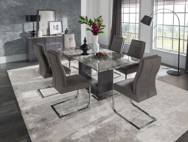 Vida Living Donatella 1.6 Marble Dining Table And 6 Grey Donatella In Most Up To Date Marble Dining Chairs (Gallery 8 of 20)