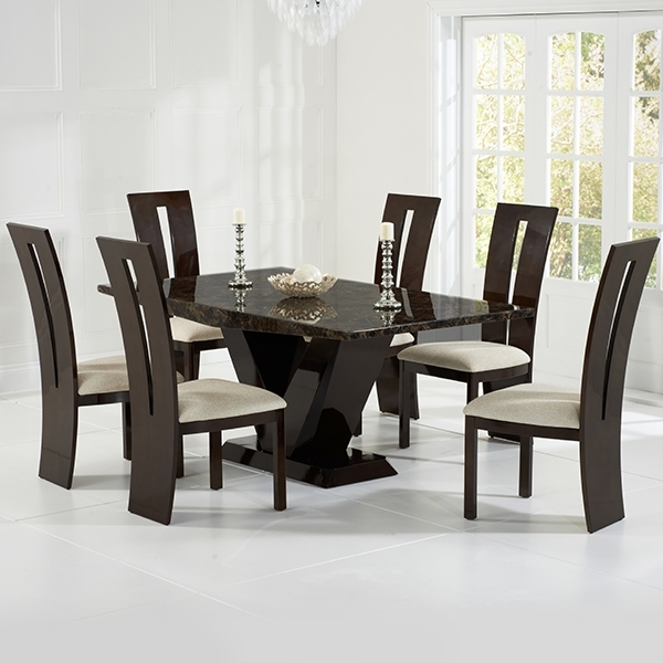 Vienna Brown Marble Dining Table – Robson Furniture For 2018 Vienna Dining Tables (Gallery 20 of 20)
