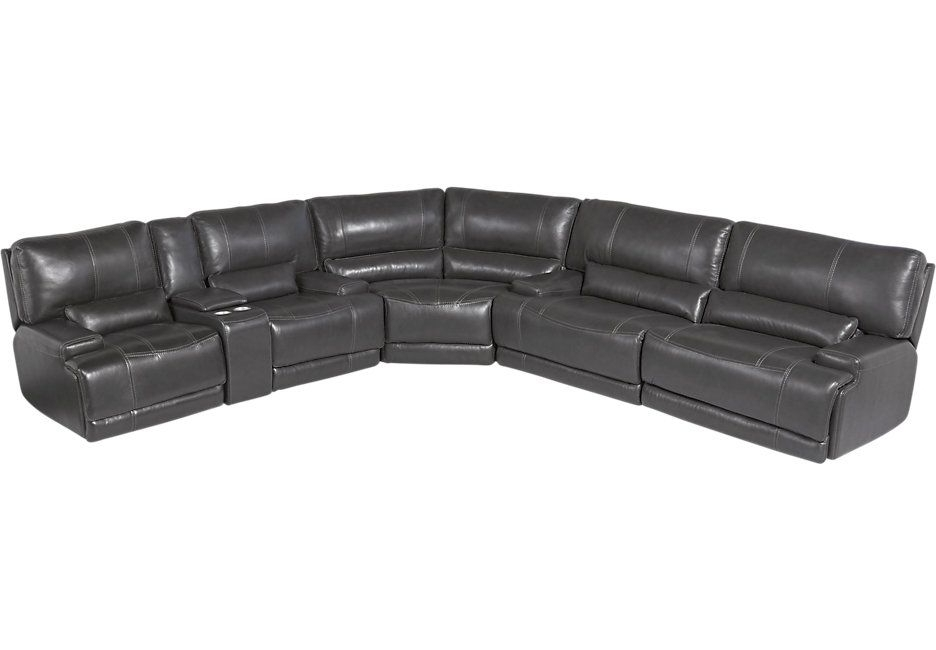 Villa Heights Gray 3 Pc Leather Power Reclining Sectional In Most Recently Released Kristen Silver Grey 6 Piece Power Reclining Sectionals (View 5 of 15)