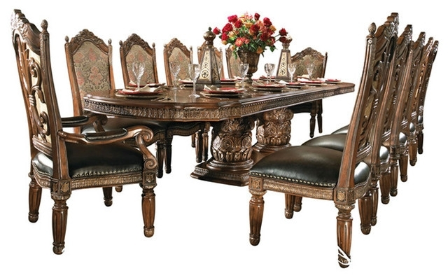 Villa Valencia 15 Piece Rectangular Dining Room Set – Victorian Inside Trendy Valencia 72 Inch 6 Piece Dining Sets (View 17 of 20)