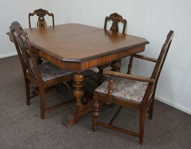 "Vintage 1920's 1930's ""butterfly Leaf"" Mahogany Dining Table With 4 Within Well Liked Mahogany Dining Tables And 4 Chairs (View 18 of 20)"