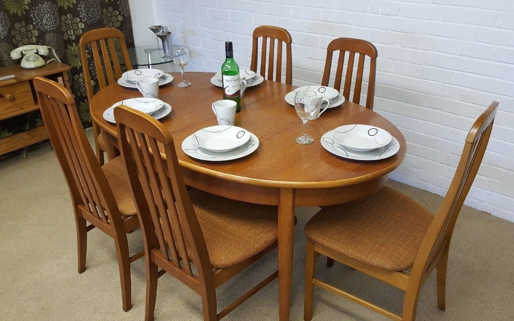 Vintage Retro 70's Danish Style Jentique Extending Dining Table & 6 Pertaining To Widely Used Danish Style Dining Tables (Gallery 19 of 20)