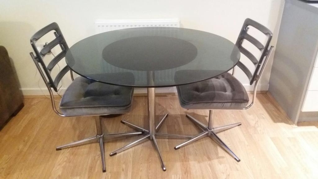 Vintage Retro Round Dining Set Round Glass Table 2 Revolving Chairs For Most Up To Date Retro Glass Dining Tables And Chairs (View 17 of 20)