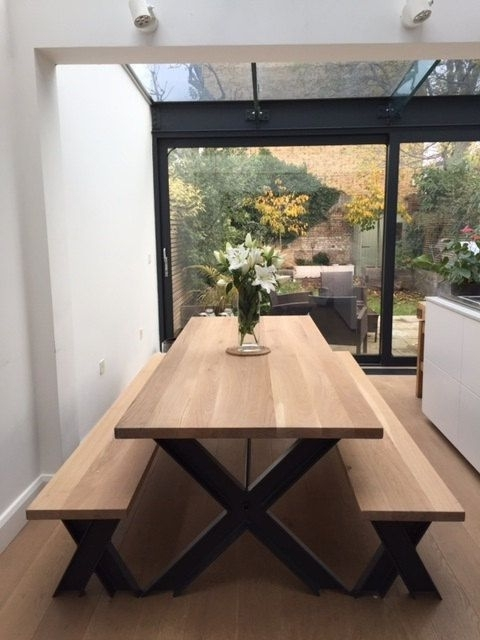 Vintage Steel And Oak Dining Table And Bench Set With Powder Coated Inside Recent Oak 6 Seater Dining Tables (View 20 of 20)