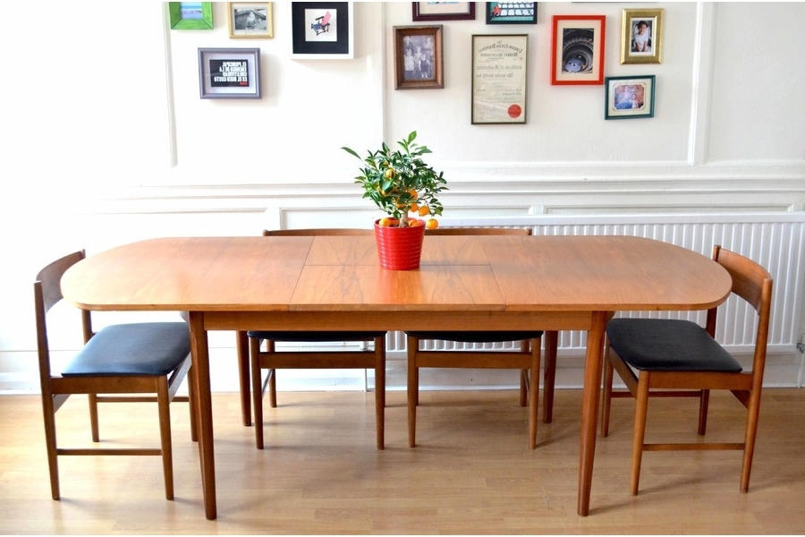 Vintage Uniflex Danish Style Teak Extending Dining Table And Chairs Within Current Danish Style Dining Tables (Gallery 4 of 20)