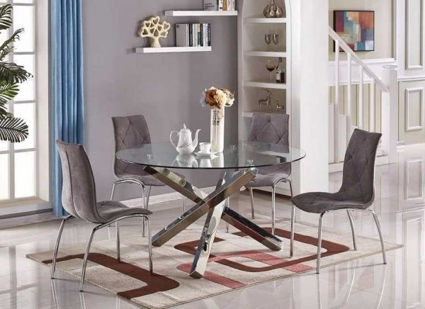 Vogue Dining Tables In Trendy Vogue Large Round Chrome Glass Dining Table (Gallery 12 of 20)