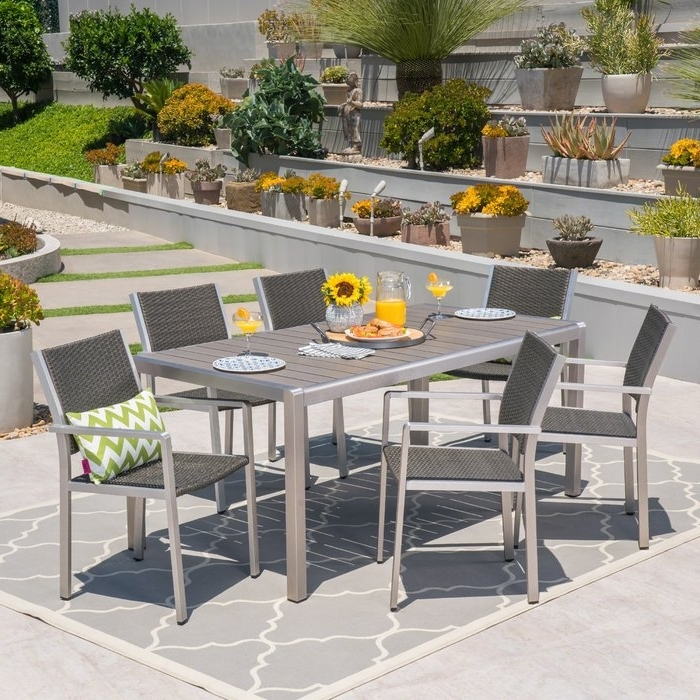 Wade Logan Durbin Aluminum 7 Piece Dining Set & Reviews (View 16 of 20)