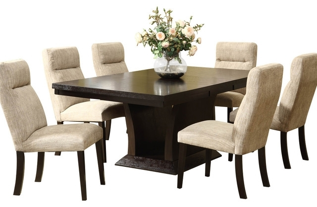 Walden 7 Piece Extension Dining Sets Within Fashionable Homelegance Avery 7 Piece Pedestal Dining Room Set In Espresso (View 16 of 20)