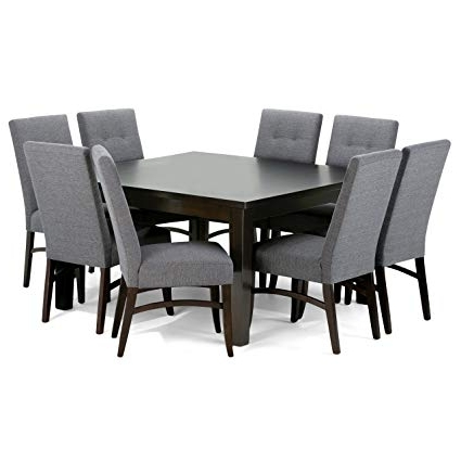 Walden 9 Piece Extension Dining Sets Throughout Popular Amazon – Simpli Home Ezra 9 Piece Dining Set, Slate Grey – Table (View 18 of 20)