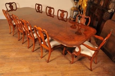 Walnut Dining Table Sets Intended For Widely Used Regency Walnut Dining Table Set Queen Anne Chairs Tables Suite (View 13 of 20)