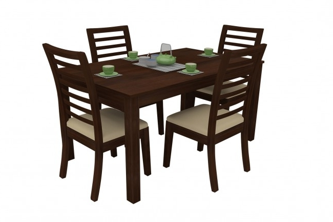 Walnut Dining Table Sets Pertaining To Favorite Modena Walnut Dining Table Set 4 Seater (Teak Wood) – Adona Adona Woods (View 14 of 20)