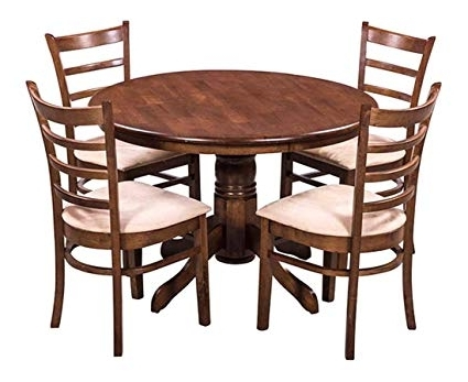 Walnut Dining Table Sets Regarding Most Up To Date Royaloak Coco Dining Table Set With 4 Chairs (Walnut): Amazon (View 16 of 20)