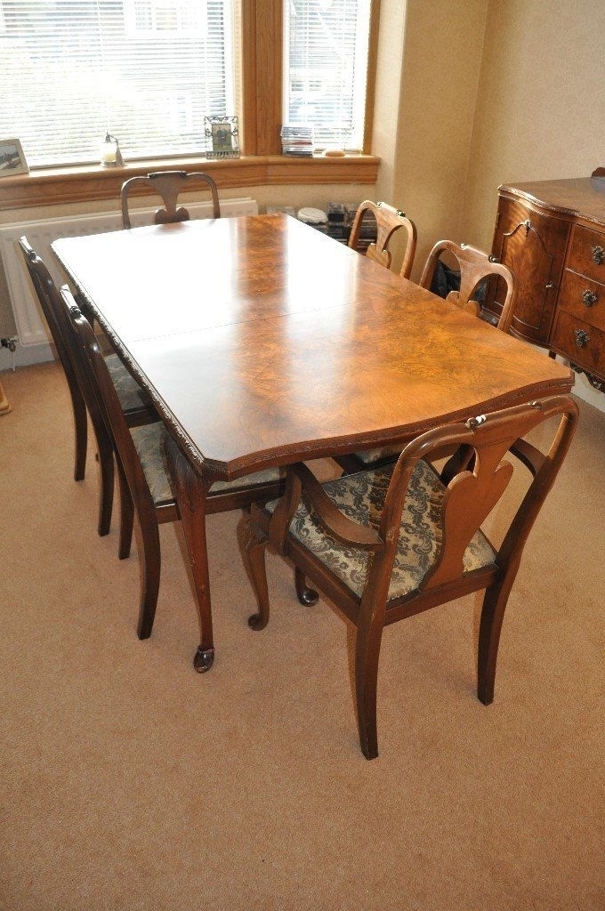 Walnut Dining Tables And Chairs In Latest Queen Anne Style Burr Walnut Dining Table, Chairs And Sideboard (View 12 of 20)