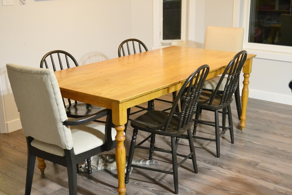 Washed Old Oak & Waxed Black Legs Bar Tables Intended For Latest A Shabby Chic Farmhouse Table With Diy Chalk Paint (View 16 of 20)