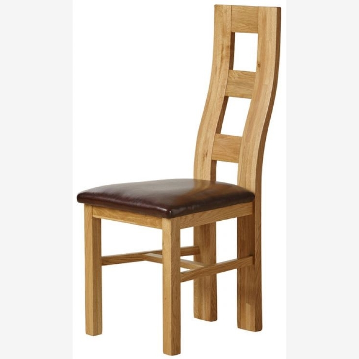 Wave Back Dining Chair In Natural Oak – Brown Leather With Most Current Real Leather Dining Chairs (View 19 of 20)