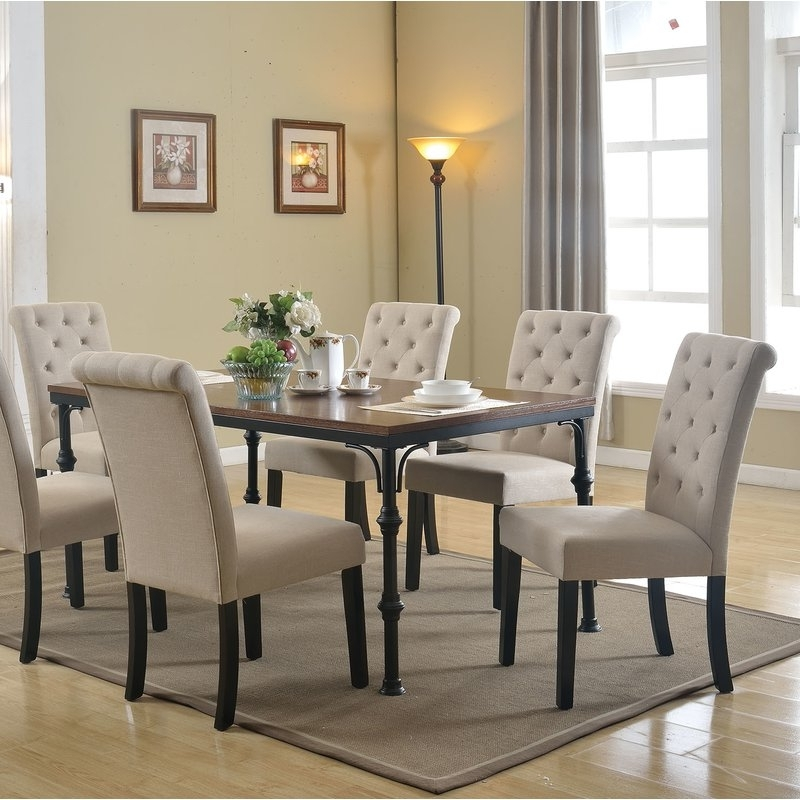 Wayfair Inside Caira Black 7 Piece Dining Sets With Upholstered Side Chairs (View 14 of 20)