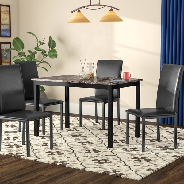Wayfair Inside Famous Caira Black 7 Piece Dining Sets With Upholstered Side Chairs (View 16 of 20)