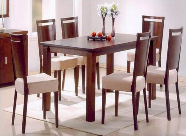 Well Known 6 Seater Dining Table With Chairs, Dark Walnut (View 19 of 20)
