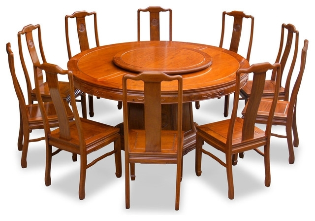 """Well Known 66"""" Rosewood Longevity Design Round Dining Table With 10 Chairs With Regard To Dining Table And 10 Chairs (View 18 of 20)"""