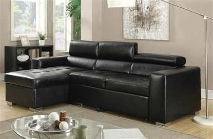 Well Known Aidan 4 Piece Sectionals Pertaining To Aidan Black Bonded Leather Sectional Sofa (View 6 of 15)