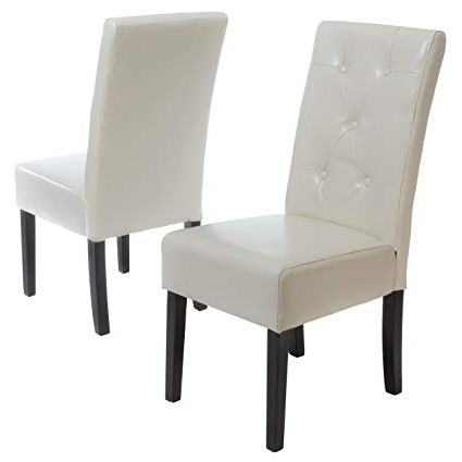Well Known Amazon: Christopher Knight Home 214521 Alexander Ivory Bonded Within Ivory Leather Dining Chairs (View 19 of 20)