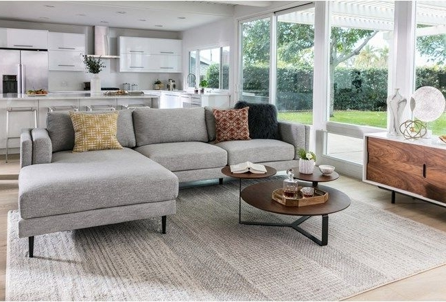 Well Known Aquarius Light Grey 2 Piece Sectional W/raf Chaise (View 11 of 15)