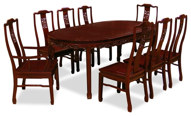 "Well Known Asian Dining Tables Throughout 80"" Rosewood Dining Table Set With 8 Chairs, Dragon Design – Asian (View 19 of 20)"