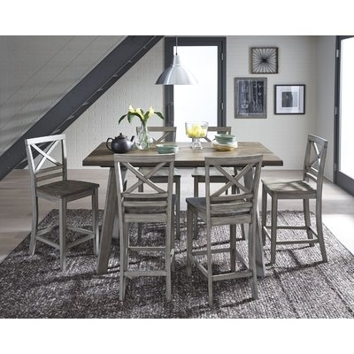 Well Known August Grove Crum 7 Piece Counter Height Wood Dining Set In 2018 For Market 7 Piece Counter Sets (View 18 of 20)