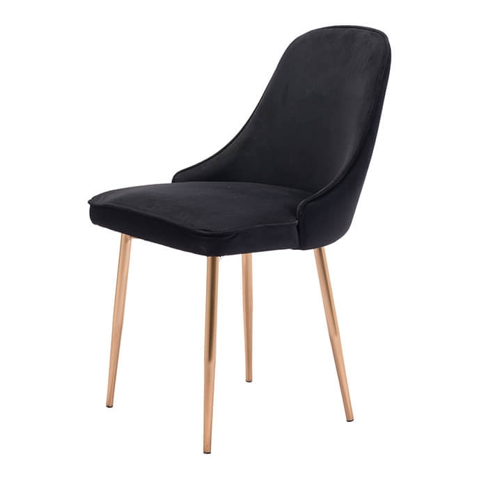 Well Known Black Dining Chairs For Merritt Modern Dining Chair Black Velvet (View 8 of 20)