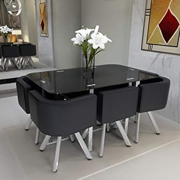 Well Known Black Glass Dining Tables And 6 Chairs Regarding Feifeiyo Black Glass Dining Table Set Round 1 X Table And 6 X Chairs (View 17 of 20)