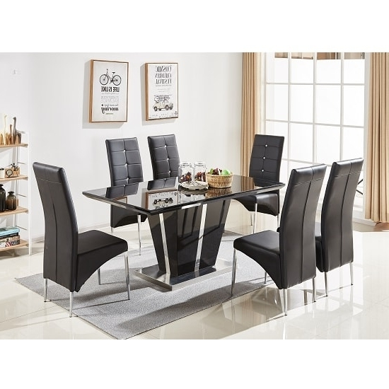 Well Known Black Gloss Dining Tables And 6 Chairs Intended For Memphis Glass Dining Table In Black Gloss With 6 Dining (View 20 of 20)