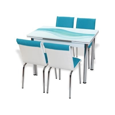 Well Known Blue Glass Dining Tables With Regard To Afiah – Extendable Dining Table Set (View 18 of 20)
