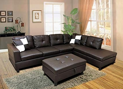 Well Known Burton Leather 3 Piece Sectionals With Ottoman Regarding Amazon: Winpex 3 Piece Faux Leather Sectional Sofa Set With Free (View 13 of 15)