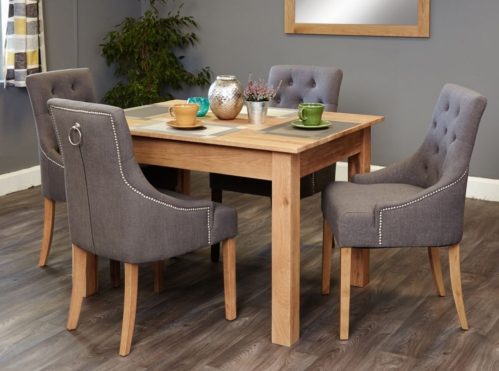 Well Known Buy Baumhaus Mobel Oak Dining Set With 4 Stone Fabric Upholstered Pertaining To Oak Dining Tables And Fabric Chairs (View 17 of 20)