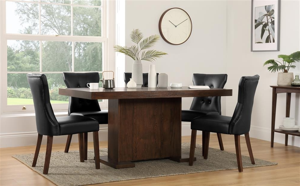 Well Known Chilton 160Cm & Bewley Walnut Dining Table And 4 6 Chairs Set (Black Intended For Walnut Dining Tables And 6 Chairs (View 18 of 20)