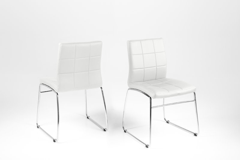 Well Known Chrome Leather Dining Chairs With Hot Dining Chair – White Leather Look With Chrome Legs – Homestreet (View 16 of 20)