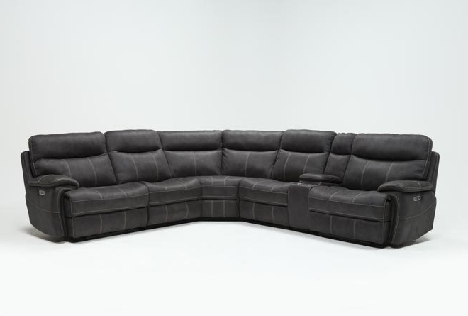 Well Known Clyde Grey Leather 3 Piece Power Reclining Sectionals With Pwr Hdrst & Usb Throughout Denali Charcoal Grey 6 Piece Reclining Sectional W/2 Power Headrests (View 12 of 15)