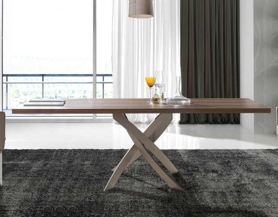 Well Known Contemporary Base Dining Tables For Porto Lujo Torrox Contemporary Walnut Top Dining Table, Base In (View 19 of 20)