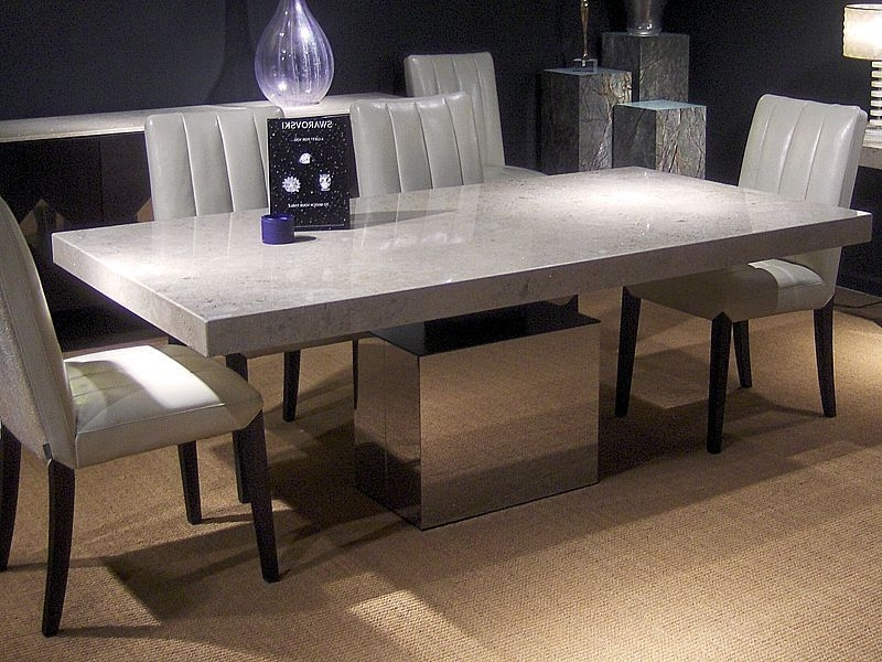 Well Known Contemporary Dining Table / Polished Stainless Steel / Marble With Stone Dining Tables (View 19 of 20)